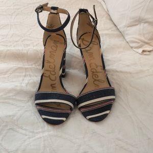 Sam Edelman Red/White/Blue Block Heel